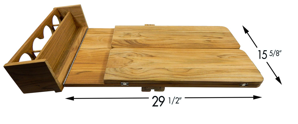 Teak Cockpit Table with folding leaves and drink holder (Part #60392)