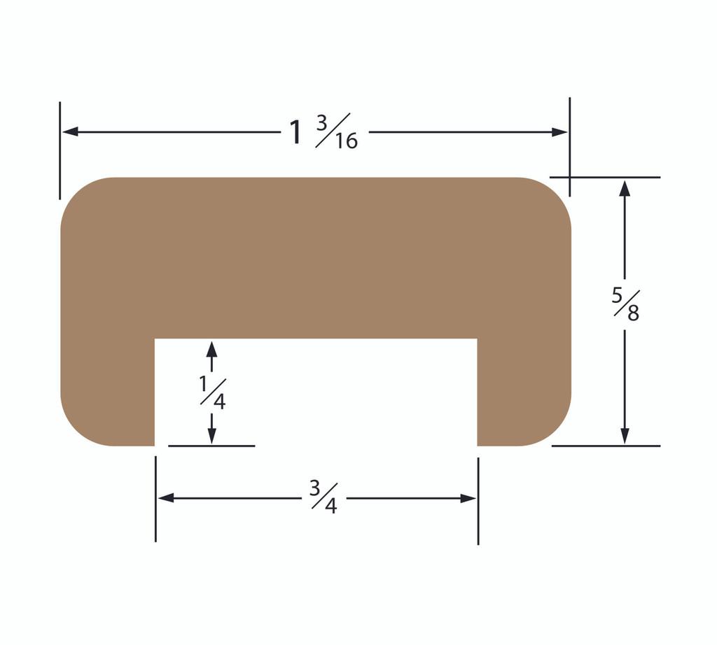 Teak Bulkhead Molding 3/4 Track Straight Length 5'