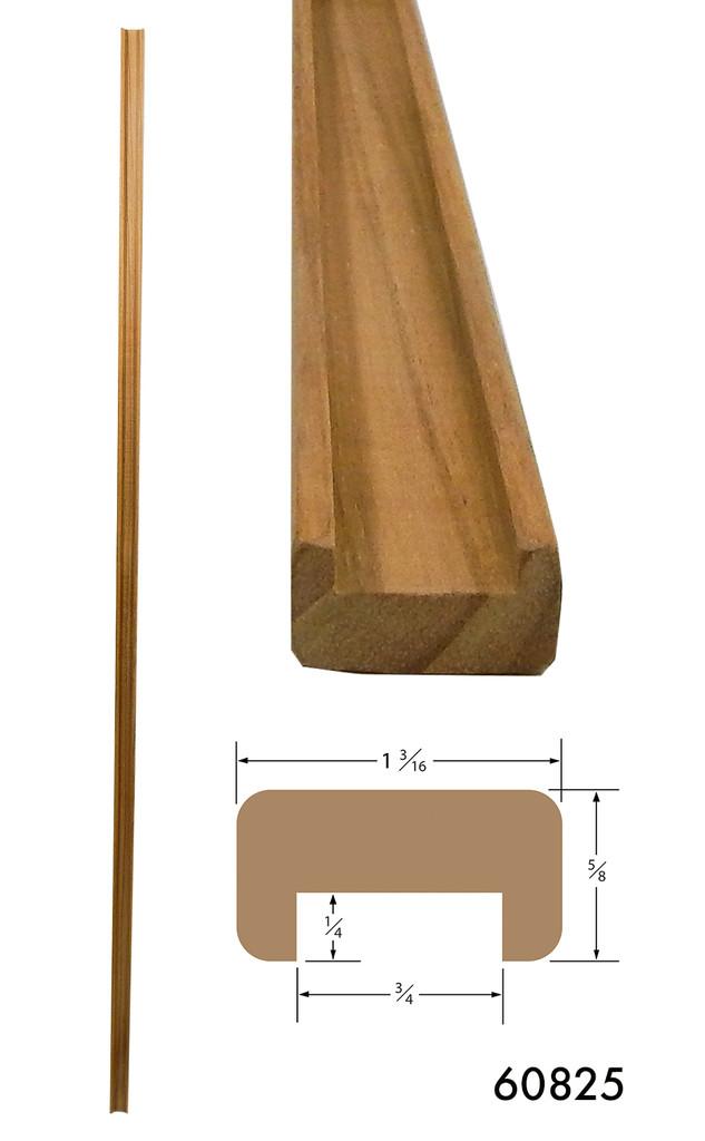 Teak Bulkhead Molding 3/4 Track Straight Length 5' (Part #60825)