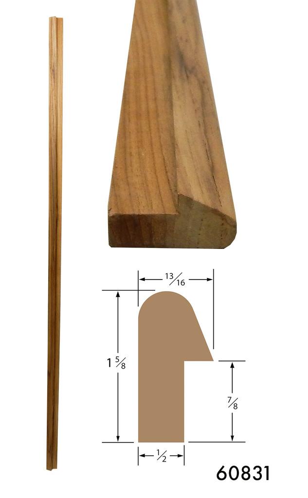 Teak Rail Molding 1-5/8 x 13/16 Straight Length, 5' Long (Part #60831)