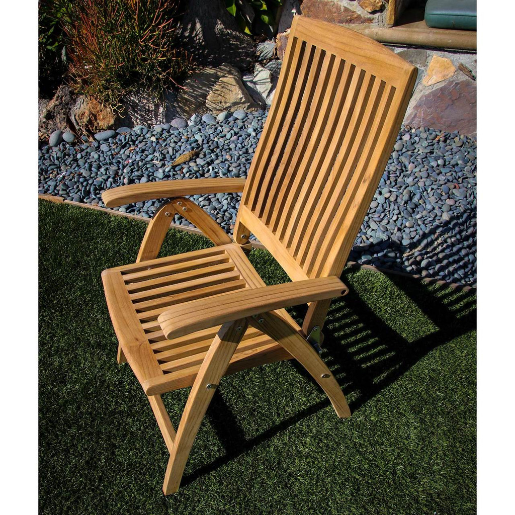 WeatherlyTeak 6 Position Folding Deck Chair