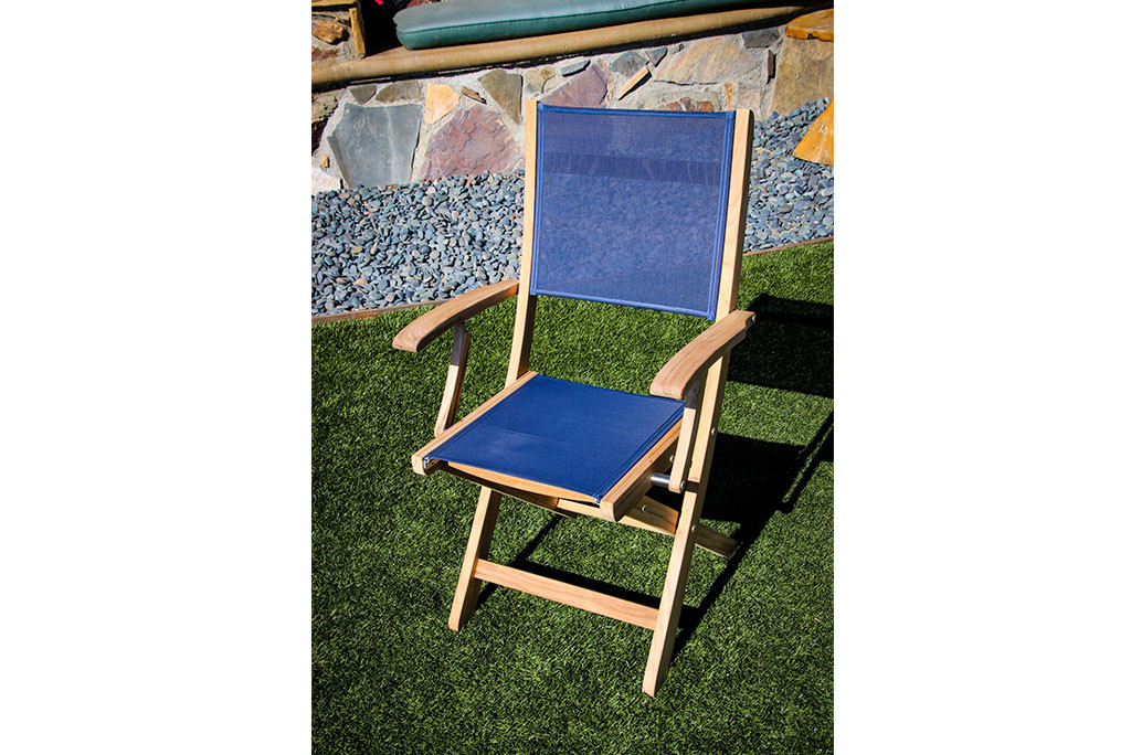 SeaTeak Bimini Folding Teak Chair with Blue Fabric Seat and Back