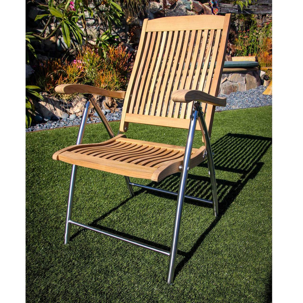 Windrift Teak Folding Chair with Stainless Steel Legs