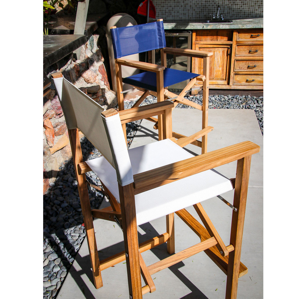 Teak Captain's Chair (Available in Blue Part #60068-BLU or White Part #60068-WHT DURASLING Fabric)