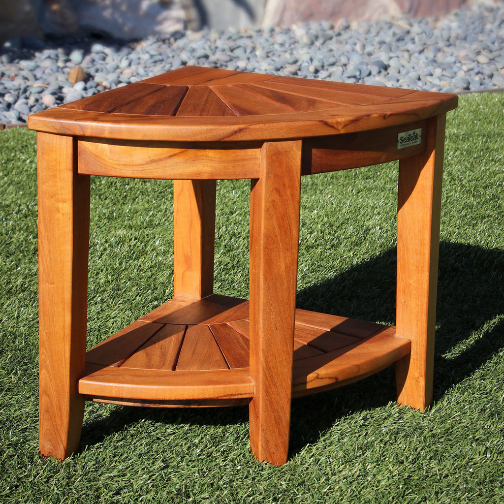 SeaTeak Shower & Spa Corner Bench - Oiled Finish