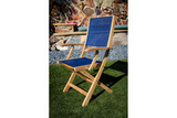 Bimini Folding Teak Deck Armchair with Blue Durasling Fabric (Part #60065)