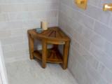 SeaTeak Shower & Spa Corner Seat-Oiled Finish (Part #60025)