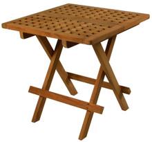 SeaTeak Square Folding Deck Side Table