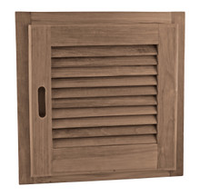 "Teak Louvered Door + Frame, Square 15"" x 15"" (Right-hand opening)"