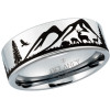 Mountain Landscape with Deer Men's Tungsten Ring
