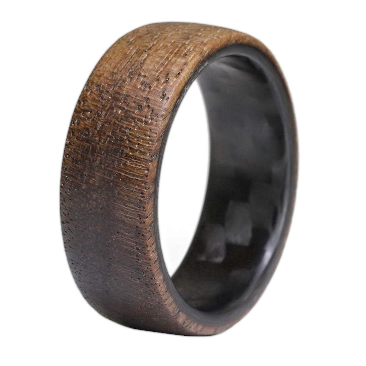 Wood Wedding Bands.Composition Carbon Fiber And Walnut Wood Wedding Band