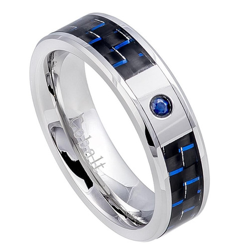 The Citadel Cobalt Ring with 0.05ct Blue Sapphire and Carbon Fiber Inlay from Vansweden Jewelers