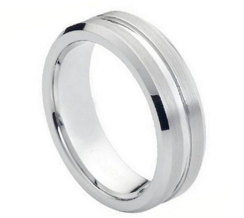 The Fission Cobalt Ring with Grooved Center and Beveled Edges from Vansweden Jewelers