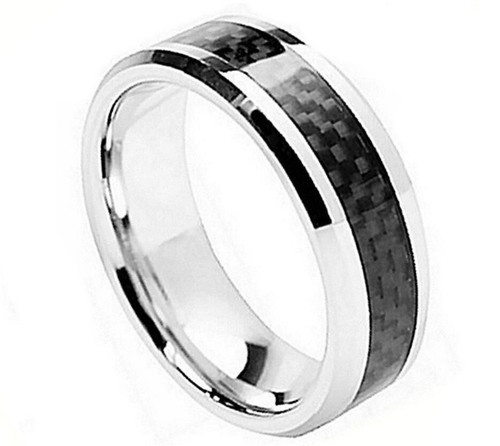 The Vortex Cobalt Ring with Beveled Edge and Black Carbon Fiber Inlay from Vansweden Jewelers