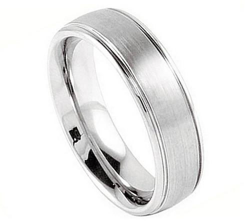 The Blade Cobalt Polished Domed Ring with Flat Thin Brushed Sides from Vansweden Jewelers
