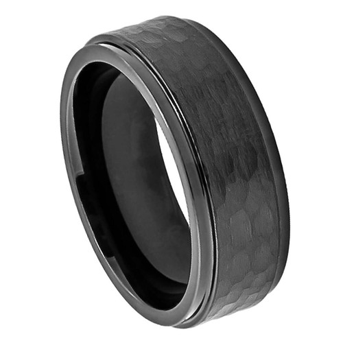 The Equinox Cobalt Ring with Black Enamel Plating and Hammered Center from Vansweden Jewelers