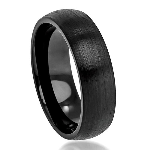The Colossus Cobalt Domed Ring with Black Brushed Enamel Plating from Vansweden Jewelers