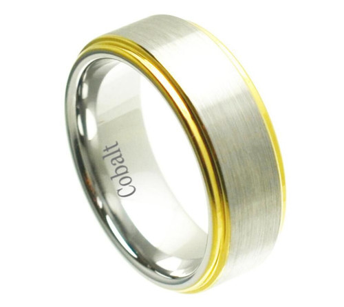 The Oculus Cobalt Ring with Brushed Center and Yellow Gold Plated Edges from Vansweden Jewelers