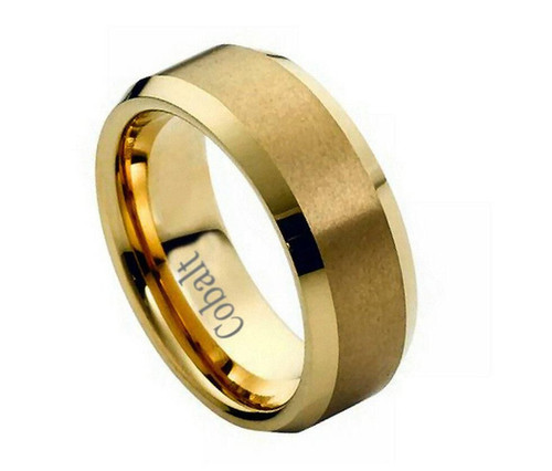 The Aeon Yellow Gold Ion Plated Cobalt Ring with Brushed Center from Vansweden Jewelers
