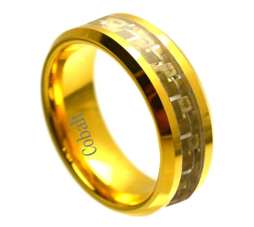 The Elixir Yellow Gold Ion Plated Polished Cobalt Ring with Gold Carbon Fiber Inlay from Vansweden Jewelers