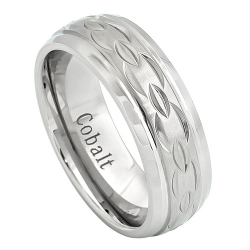 The Mobius Cobalt Ring with Brushed Carved Chain Design from Vansweden Jewelers