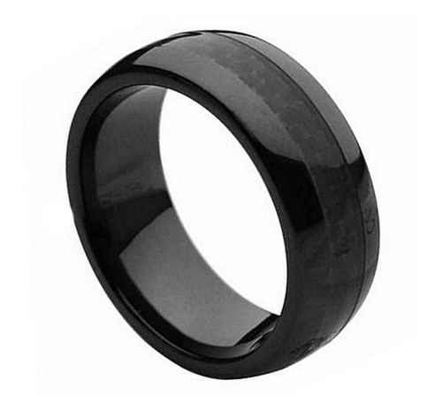 The Edelweiss Black Ceramic Ring with Black Carbon Fiber Inlay from Vansweden Jewelers