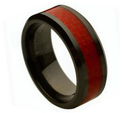 The Halcyon Black Ceramic Ring with Red Carbon Fiber Inlay from Vansweden Jewelers