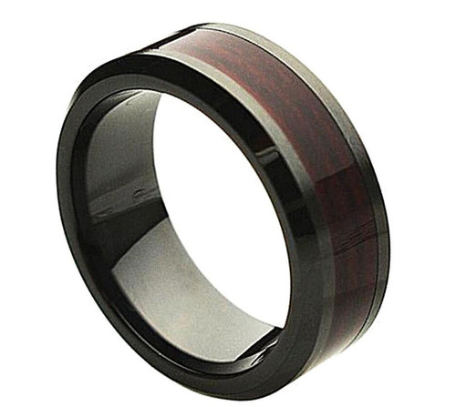 The Apricity Black Ceramic Ring with Burgundy Wood Inlay from Vansweden Jewelers