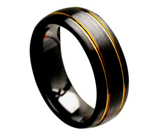The Noumenon Black Ceramic Domed Ring with Brushed Finish and Two Yellow Gold Plated Grooves from Vansweden Jewelers