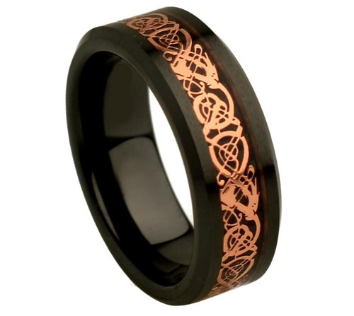 The Quasar Flat Black Ceramic Polished Ring with Rose Gold Plated Celtic Dragon Inlay from Vansweden Jewelers