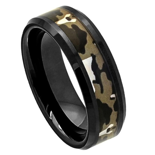 The Pavilion Flat Black Ceramic Polished Ring with Commando Camo Inlay from Vansweden Jewelers