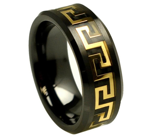 The Elysium Black Ceramic Ring with Yellow Gold Plated Greek Key Design Over Black Carbon Fiber Inlay from Vansweden Jewelers