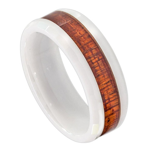 The Hyacinth White Ceramic Ring with Hawaiian Koa Wood Inlay and Faceted Edges from Vansweden Jewelers