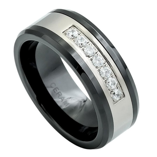 The Zephyr Black Ceramic Ring with Seven CZs on Titanium Inlay from Vansweden Jewelers