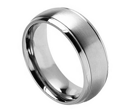 The Effervescence Titanium Ring with Brushed Center and Grooved Edge from Vansweden Jewelers