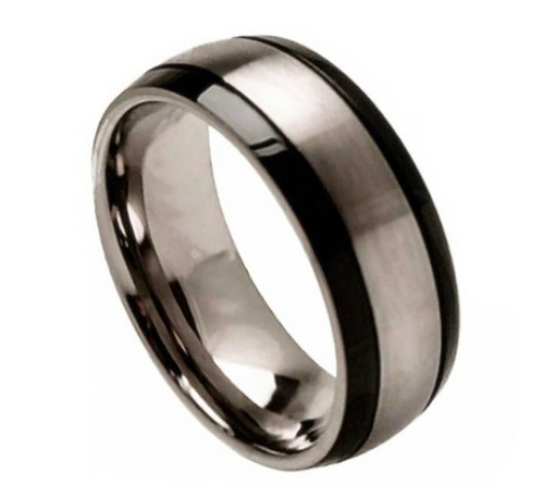 The Phenomenon Titanium Ring with Brushed Center and Black Grooved Sides from Vansweden Jewelers