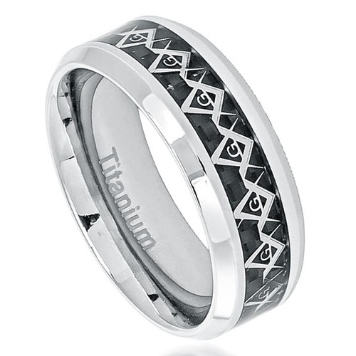 The Genesis Polished Titanium Ring with Masonic Symbol Inlay Over Black Carbon Fiber Inlay from Vansweden Jewelers