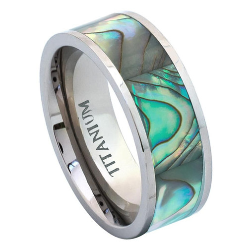 The Paradox Titanium Ring with Rainbow Abalone Inlay from Vansweden Jewelers
