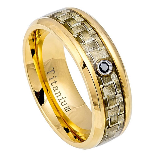 The Ethereal Polished Yellow Gold Ion Plated Titanium Ring with Golden Carbon Fiber Inlay and 0.05ct Black Diamond from Vansweden Jewelers