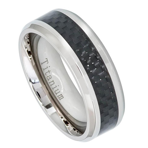 The Obsidian Polished Titanium Ring with Black Carbon Fiber Inlay from Vansweden Jewelers