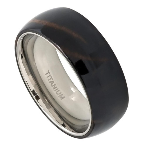 The Empyrean Domed Titanium Ring with African Black Wood Inlay from Vansweden Jewelers