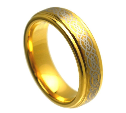 The Nadir Tungsten Carbide Yellow Gold Plated Ring with Laser Engraved Celtic Knot Pattern from Vansweden Jewelers