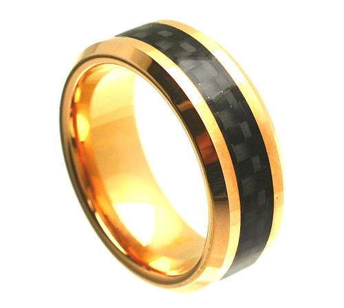 The Parallax Tungsten Carbide Yellow Gold Plated Ring with Black Carbon Fiber Inlay from Vansweden Jewelers