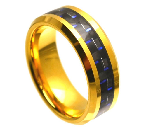 The Cosmos Yellow Gold Plated Tungsten Carbide Ring with Blue and Black Carbon Fiber Inlay
