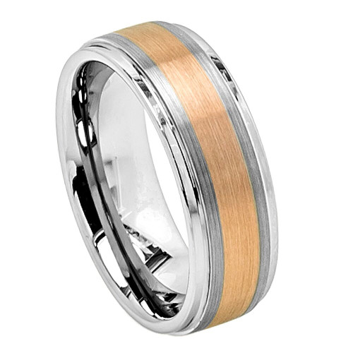 The Axial Tungsten Carbide Ring with Brushed Rose Gold Ion Plated Center from Vansweden Jewelers