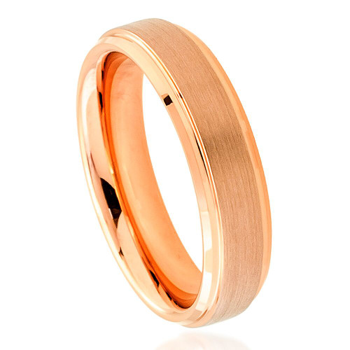 The Attache Rose Gold Ion Plated Tunsten Ring with Brushed Center from Vansweden Jewelers