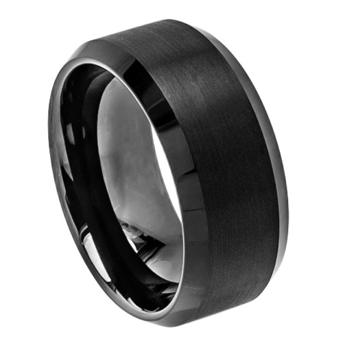 The Adagio Tungsten Carbide Flat Polished Ring with Brushed Center from Vansweden Jewelers