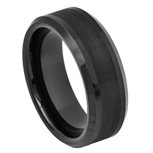 The Sonic Black Ion Plated Tungsten Carbide Ring with Brushed Center Lines from Vansweden Jewelers