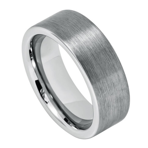 The Niacin Pipe Cut Tungsten Carbide Ring with Brushed Center from Vansweden Jewelers