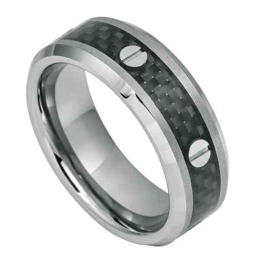 The Saiba Tungsten Carbide Ring with Screw Accents over Black Carbon Fiber Inlay from Vansweden Jewelers